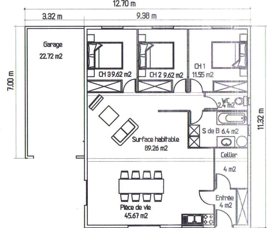Plan de la maison avec l 39 option garage plan d 39 une maison for Plan interieur maison en l